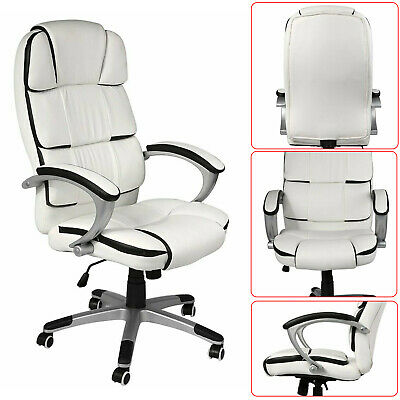 Luxury Executive Office Chair White Leather High Back Comfortable Desk Swivel