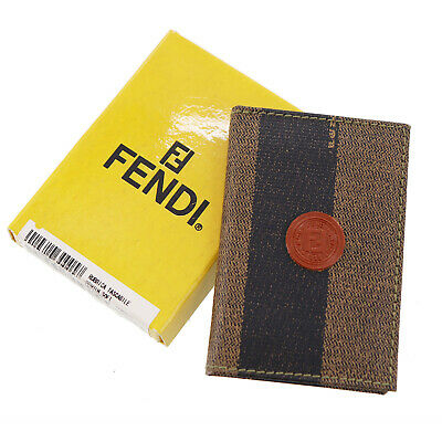 Fendi Pequin Telephone E-Mail Notebook Brown Black PVC Italy Authentic #AA117 M