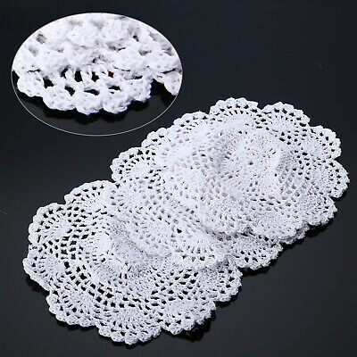 AU 3Pcs 20cm Hand Crochet Floral Lace Doilies Cotton Coasters Round Applique