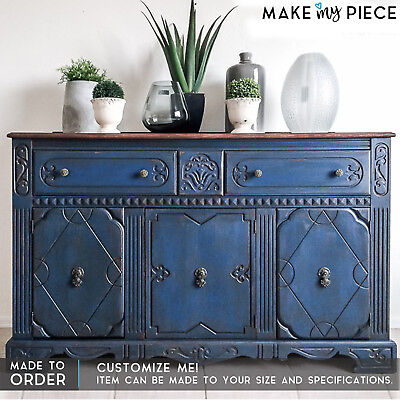 MADE TO ORDER Hand Carved Solid wood 2 Tone Sideboard Buffet Console Blue 1.6m