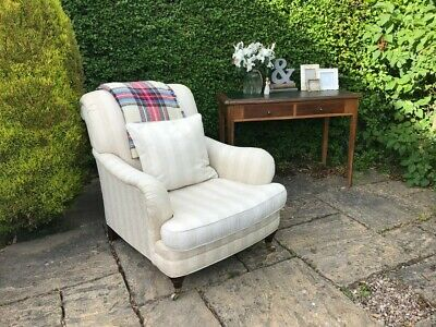 LAURA ASHLEY Southwold Armchair Cream Brass Castors RRP £995 Antique Style