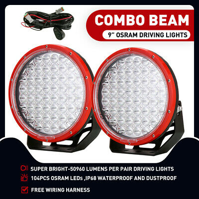 "CREE 9"" LED Driving Lights Pair Round Spot Offroad 4x4 Work Combo Red Spotlights"