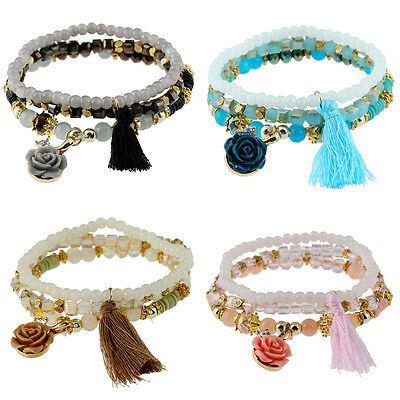 Charm Women Multilayer Beads Resin Flower Tassel Elastic Bangle Chain Bracelet