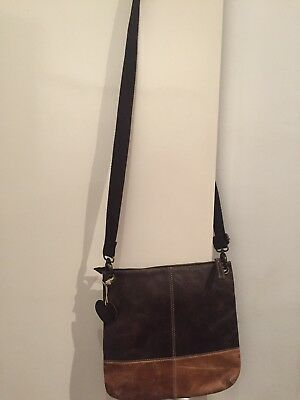 Gorgeous Dark Brown And Tan Leather Cross Body/shoulder Bag Fat Face Good
