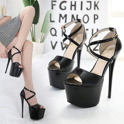 Ladies Cross Strappy Platform Sandals Womens Peep Toe Up High Heels Party Shoes