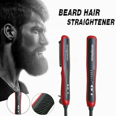Multifunctional Men Quick Beard Straightener Hair Comb Curling Curler Show S4