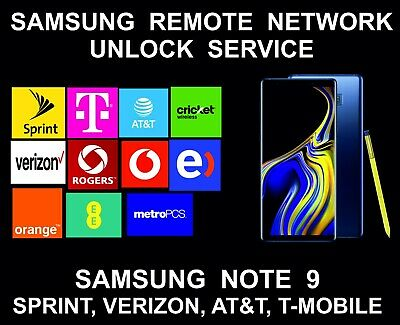 Samsung Note 9 Remote Unlock Service, AT&T, Sprint, Verizon, T-Mobile, MetroPCS