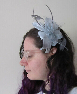 Silver Grey FASCINATOR Flower Net Ribbon Feather Tendrils | Comb | Wedding (66A)