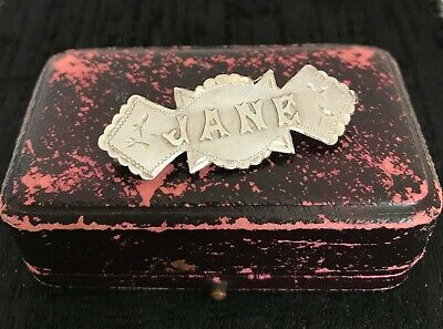 Antique Victorian Sterling Silver Name Brooch JANE Birmingham 1894 in Box