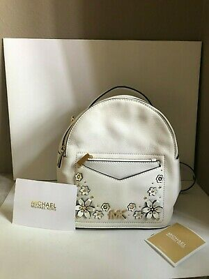 45d29abe4 New Michael Kors Jessa Small White Floral Convertible Leather Backpack