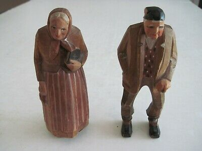 Lot Of 2 Folk Art Carved Painted Wood Old Woman With A Bible And Rosary & Man