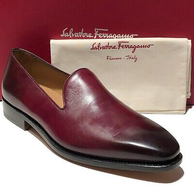 72308b57dd907 Ferragamo Tramezza Dress Leather Loafers 8.5 Red Men's Shoes Brown Casual