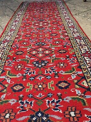 """Vintage Antique carpet runner Long wool Red Handknotted  9ft 1"""" x 2ft6"""""""