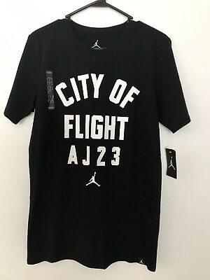 5eefe52e978 Nike Men's Air Jordan JSW City Of Flight Zipcode T Shirt Black/white ,Size