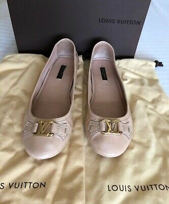 b2d68a37cb2c6 Louis Vuitton Patent Leather Beige Pink Oxford Ballet Flat Women s 38