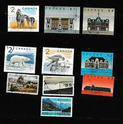 #1618=Canada used mix of 10 large $1 to $2 Commemorative  stamps