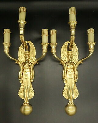 Large Pair Sconces, Caryatids, Empire Style Era 19Th - Bronze - French Antique
