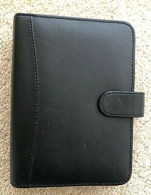 Collins Black Leather Organiser with some Dividers, Ruler Etc