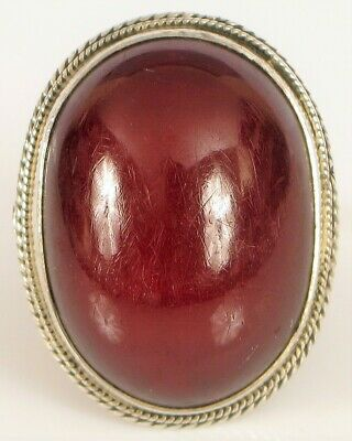 Antique Chinese Sterling Silver Large Natural Red Cherry Amber Ring 6 Grams Fine