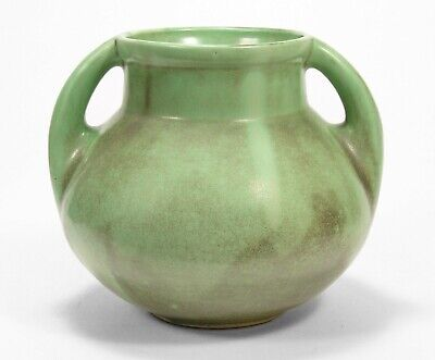 "Shearwater Pottery 2 handled 7"" vase antique matte green charcoal glaze Anderson"
