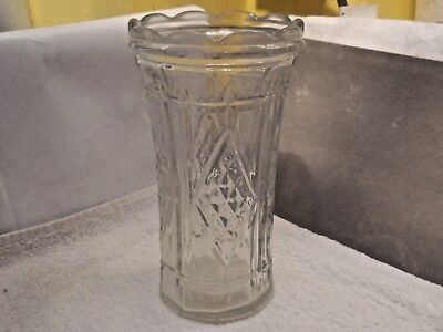 ?Vintage Cylindrical Glass Vase With Four Large Diamond Patterns  No Maker