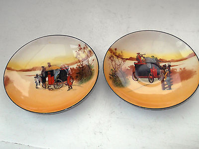 Two Small Royal Doulton Saucers From The Coaching Seriesware Different  Scenes