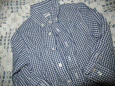 euc crewcuts navy check long sleeve button shirt boy 3T free ship USA