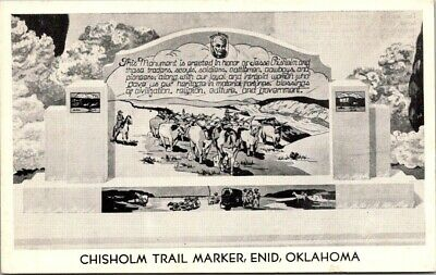 Postcard OK Oklahoma Chisolm Trail Marker Enid Unposted