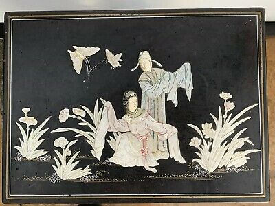 Antique Large ASIAN Black LACQUER BOX Carved JADE & SEMIPRECIOUS STONE Brass