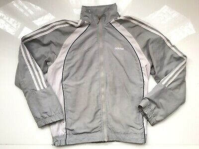 Boys / Girls ADIDAS Grey Stripes Zip Up Jacket Age 8 Years