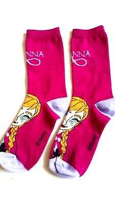 Disney Frozen Junior 1 Pair Character Socks Size Uk 1-6 Girls Fuschia Anna
