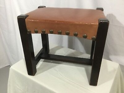 1910 Antique Arts & Crafts Foot Stool Vintage Craftsman Mahogany Original Finish