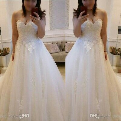 f4f21fb05dd0 Lace Sweetheart A-line Wedding Dress White Ivory Bridal Ball Gown 6 8 10 12