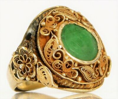 Antique Chinese Export 830 Silver Filigree Apple Green Jade Signet Ring Floral