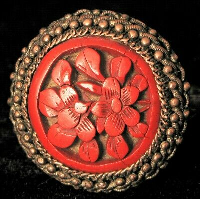 Antique Signed Ch Chinese Export Silver Carved Floral Details Cinnabar Ring