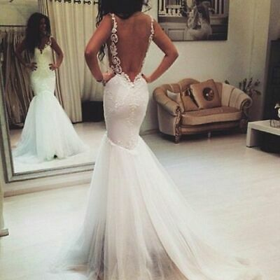 Spaghetti Straps Backless Mermaid Wedding Dresses Lace Applique Bridal Gowns