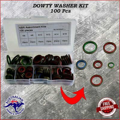 Assorted Bonded Seals  Dowty Washers 100 Pieces Metric colour coded