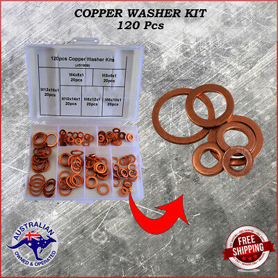 200x Solid Copper Washers Sump Plug Assorted Gasket Car Set Seal Hardware Kit #B