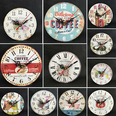 12cm Vintage Wooden Wall Clock Shabby Chic Rustic Kitchen Home Antique Timer