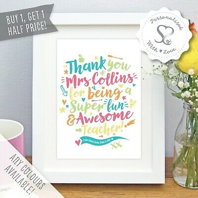 Personalised Teacher Print Thank You Gift Art Picture Nursery Leaving Present
