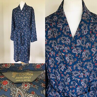 Vintage Tootal Mens Dressing Gown Smoking Jacket Navy/Red/ Paisley - Size Large