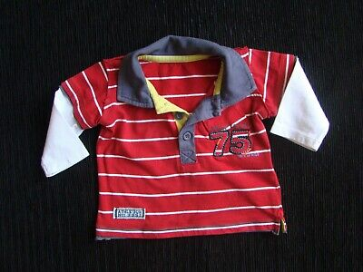 Baby clothes BOY 0-3m polo shirt, dark red/white stripes long sleeves SEE SHOP!