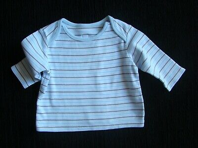 Baby clothes BOY 0-3m t-shirt/top white/blue/grey stripes long sleeves SEE SHOP!
