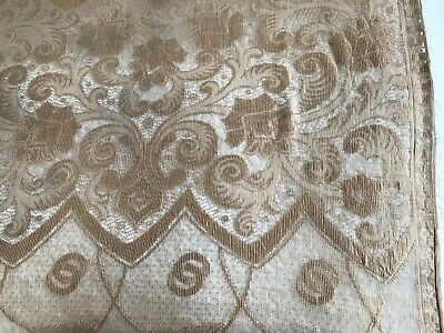 "Antique Gold Woven Lace Embroidered Silk Tasseled Hanging Panel /Throw 80"" X 41"""
