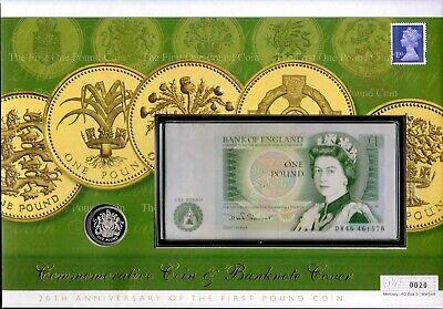 20th Anniversary of the First £1 Silver Proof Coin and Last £1 Banknote FDC.