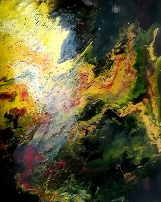 Original Fine Art Painting by Artist. Signed by Artist. Fluid Abstract Acrylic.