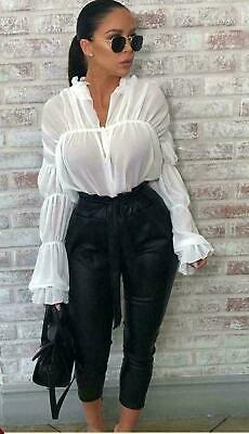 1b92adc1b944aa Women Ladies Frill Top Ruffle Bell Long Sleeve Gingham Shirt Ruched Sheer  Blouse