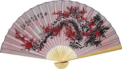 """Large 60"""" Folding Wall Fan - Purity Blossoms - Original Hand-painted"""