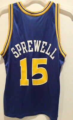 eb4fc4a0157 Vtg Champion NBA LATRELL SPREWELL 15 Warriors Basketball Jersey size 44