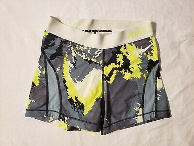 480627ae42285 Nike Pro Spandex Womens Size S Dri-Fit Compression Shorts Yellow Tennis  Running